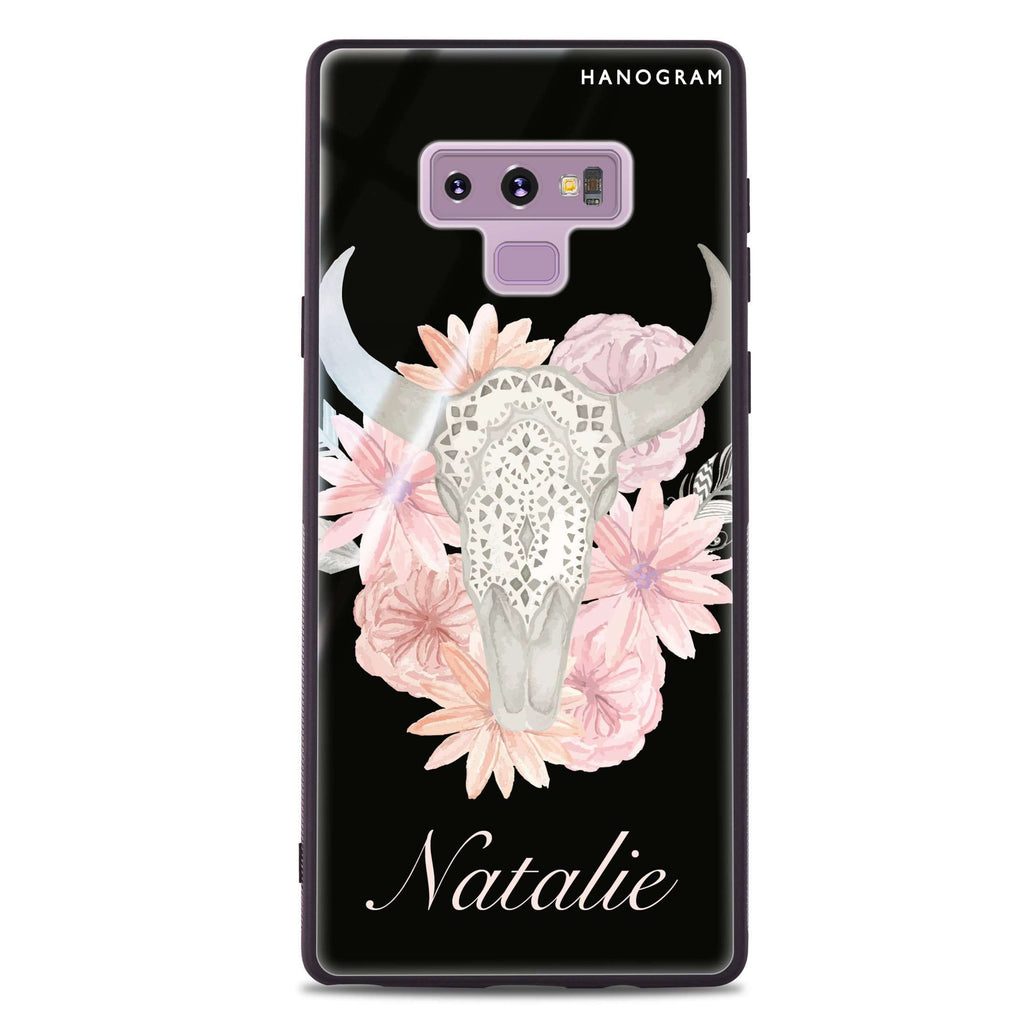 Skull Bull & Watercolor Flowers Samsung Note 9 Glass Case