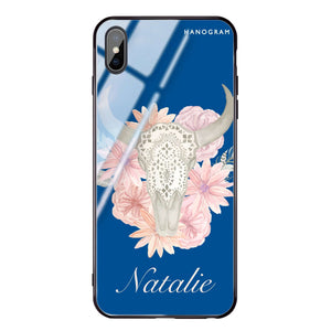 Skull Bull & Watercolor Flowers Princess Blue Glass Case