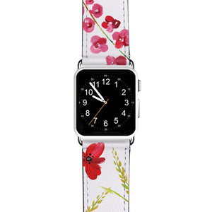Red Watercolor Florals APPLE WATCH BANDS