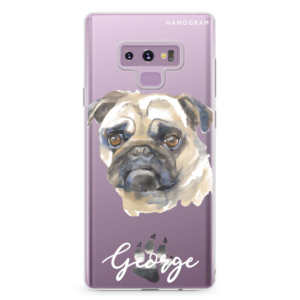 Pug Samsung Note 9 Soft Clear Case