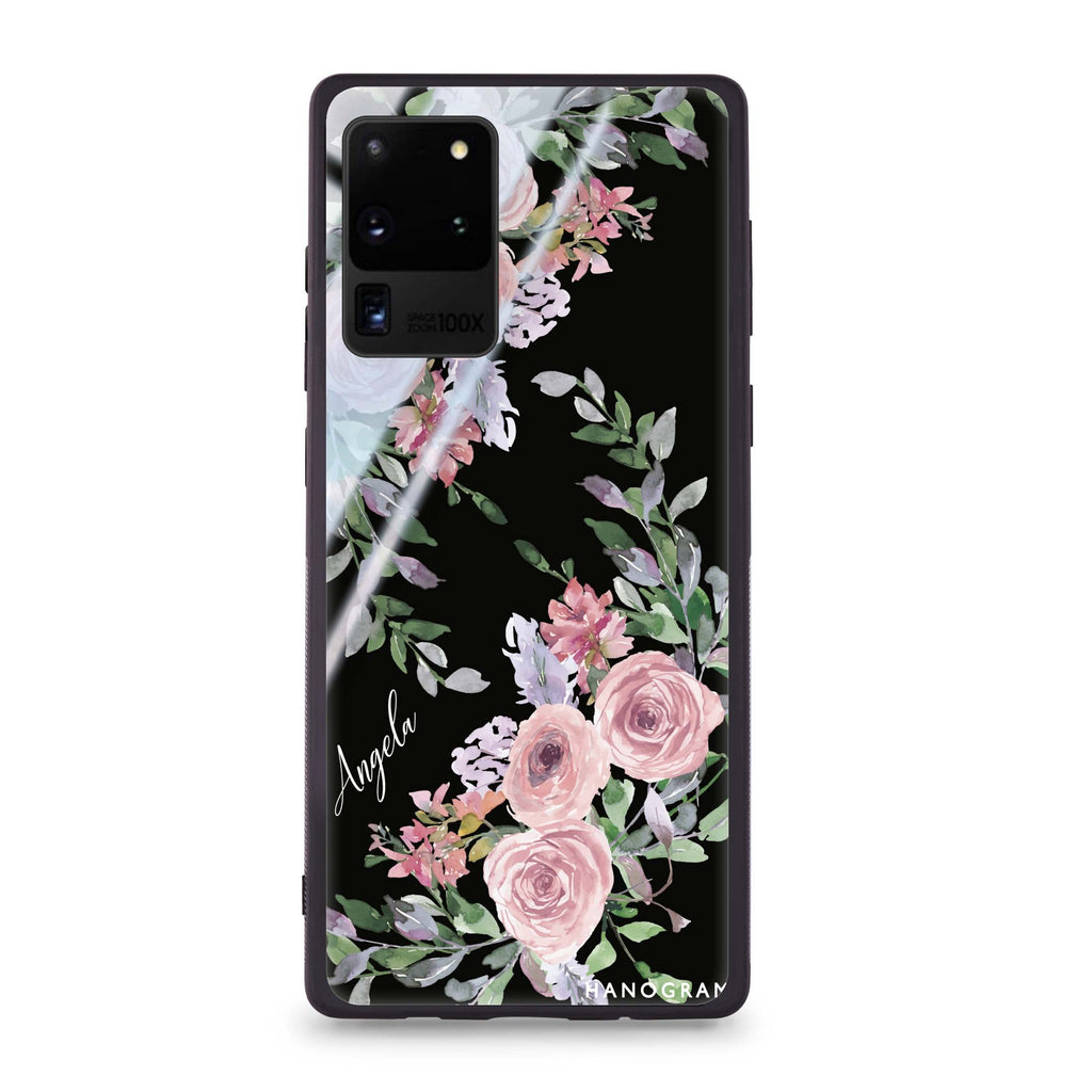 Lucy Watercolor Rose Samsung Glass Case
