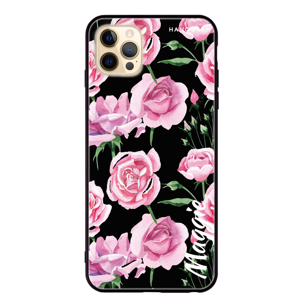 Pink Rose Glass Case