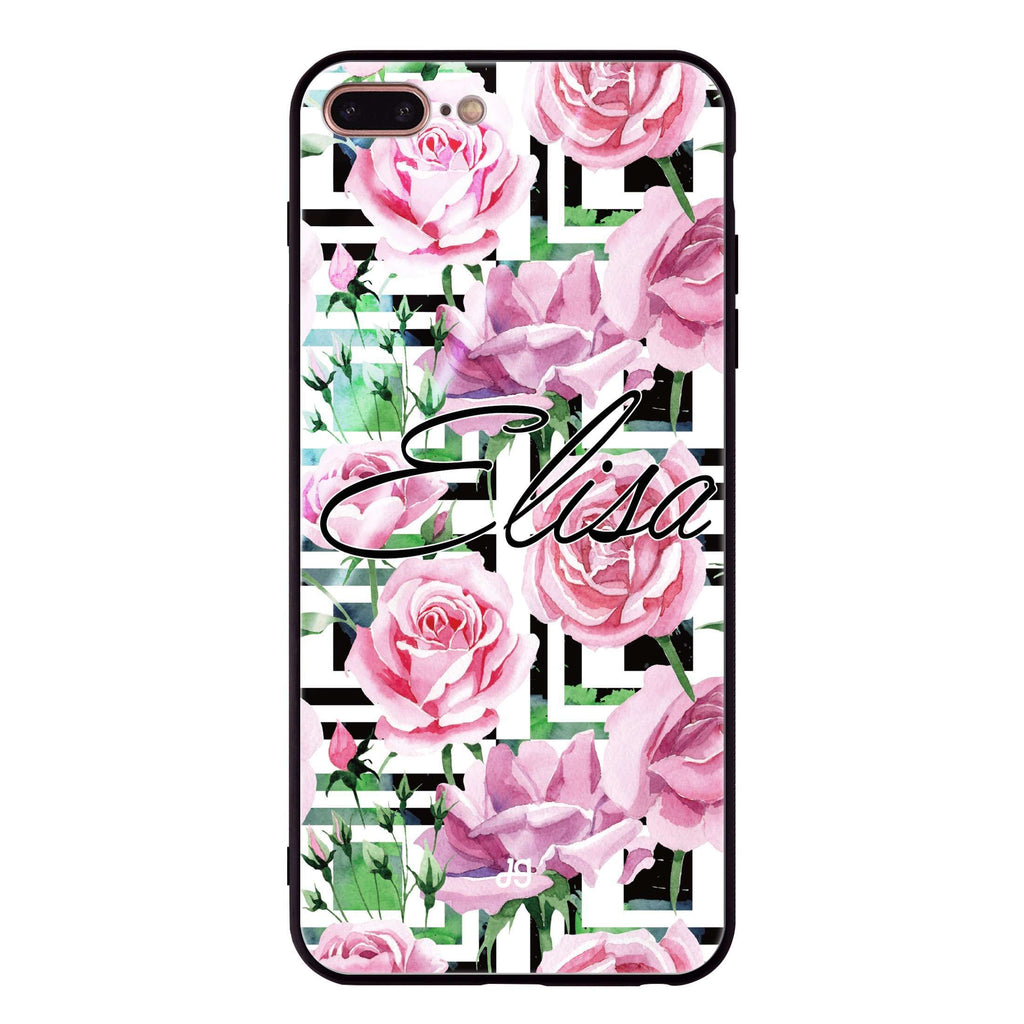 Rose Checkered iPhone 8 Plus Glass Case