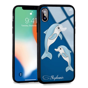 Twins dolphin Princess Blue Glass Case