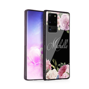 Light Pink Floral Samsung Glass Case