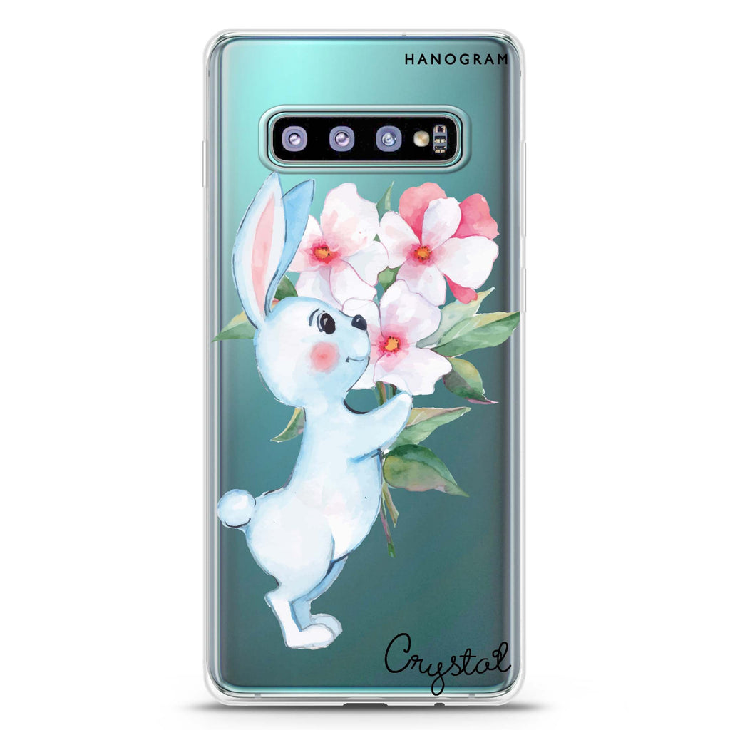 Rabbit And Flowers Samsung S10 Plus Soft Clear Case