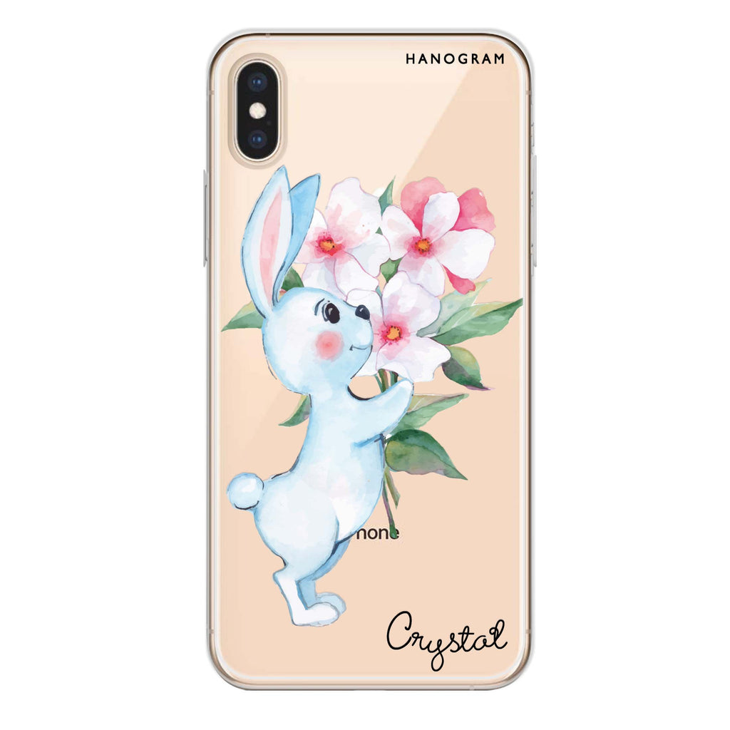 Rabbit And Flowers iPhone XS Soft Clear Case