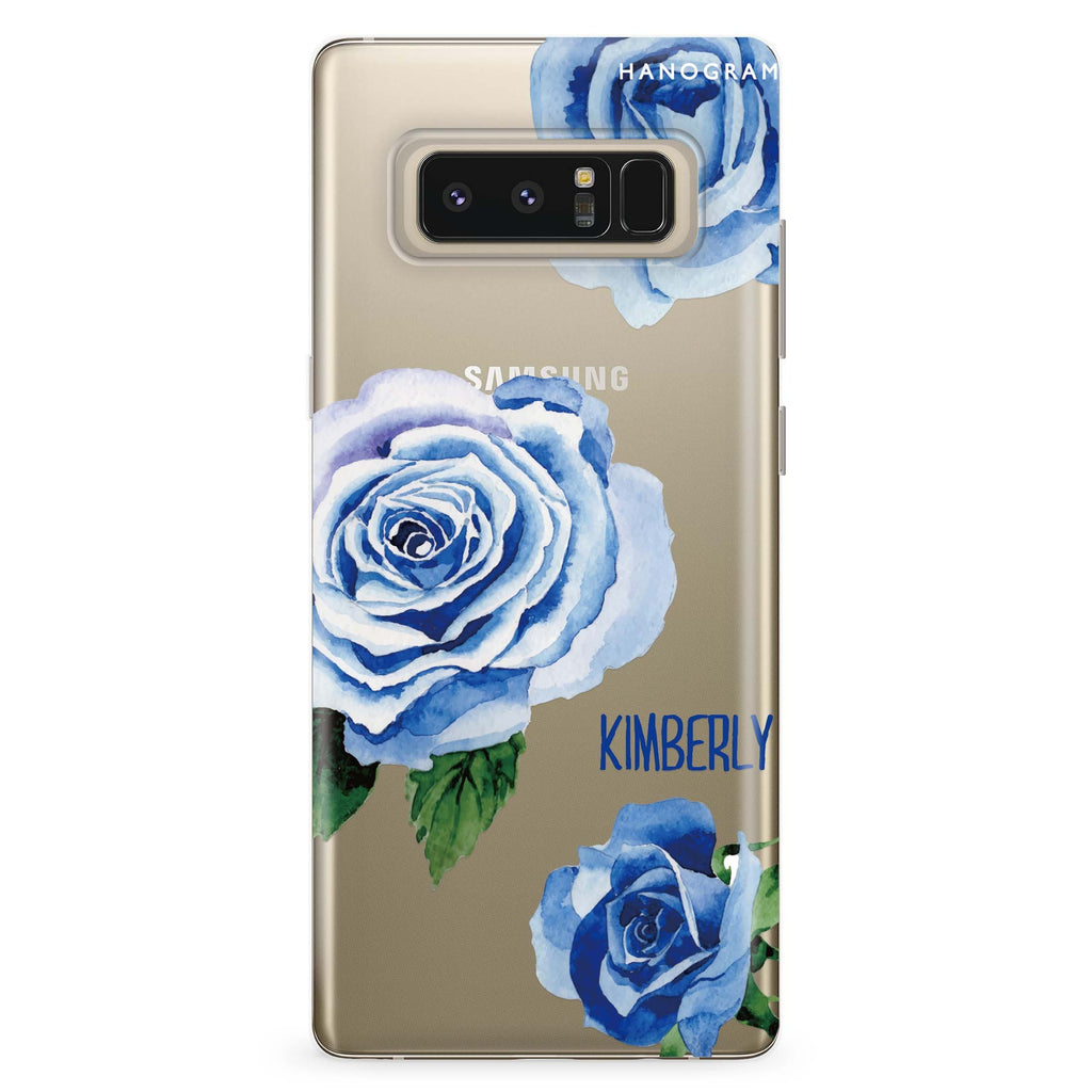 Blue Rose Samsung Note 8 Soft Clear Case