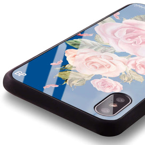 Pink Watercolor Floral Princess Blue Glass Case