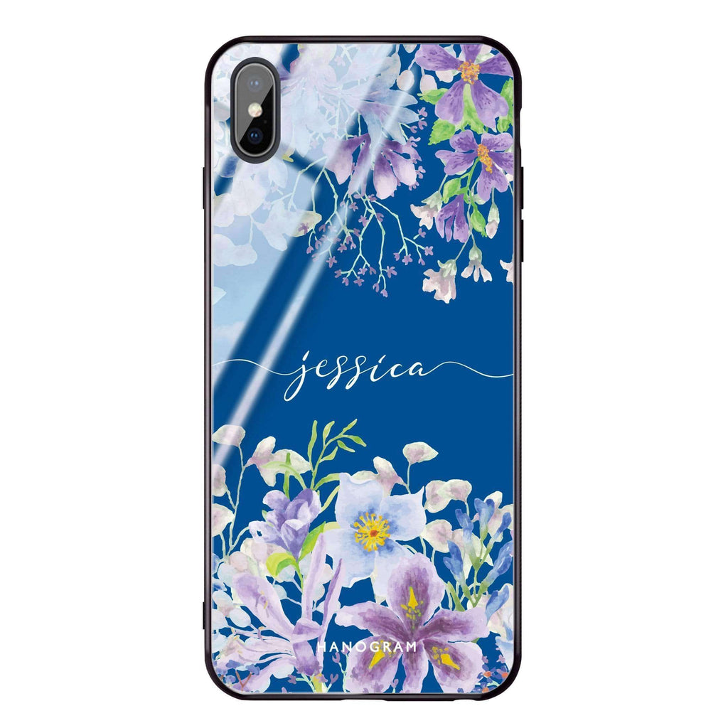 Flowers Bloom Princess Blue Glass Case