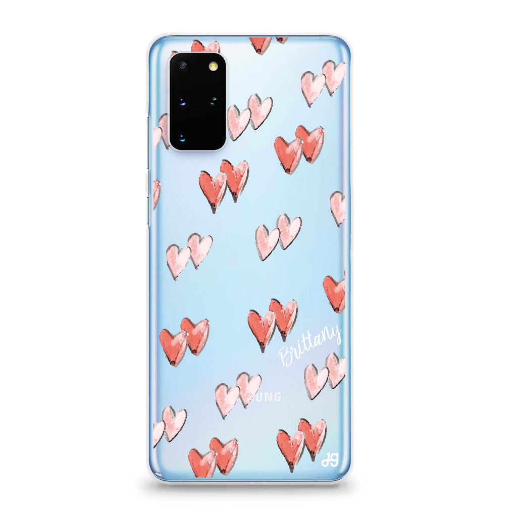 Double Heart Samsung S20 Plus Soft Clear Case