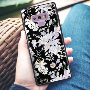 Serene Flowers Pattern Samsung Note 9 Glass Case
