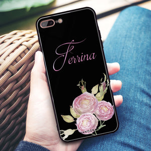 Three Watercolor Flowers iPhone 8 Plus Glass Case