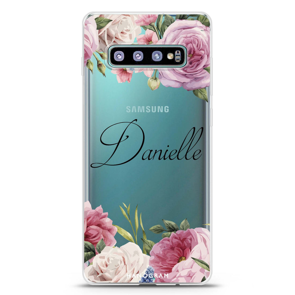 Light Pink Floral Samsung S10 Plus Soft Clear Case