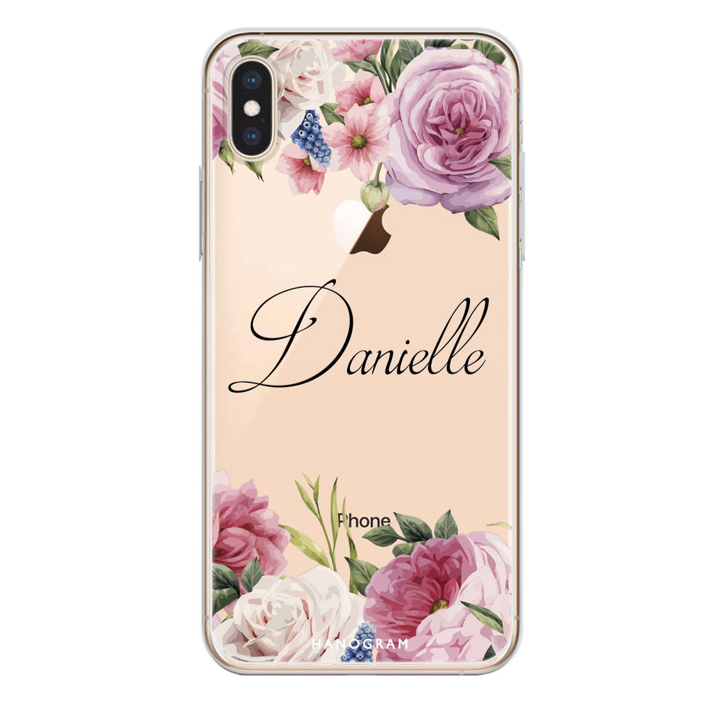 Light Pink Floral iPhone X Soft Clear Case