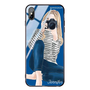 Camera girl II Princess Blue Glass Case