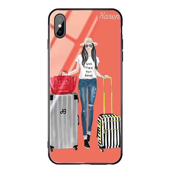 Travel girl I Living Coral Glass Case