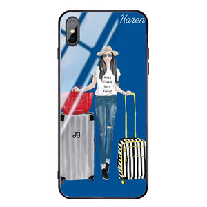 Travel girl I Princess Blue Glass Case