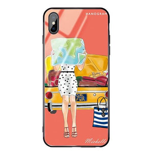 Travel girl III Living Coral Glass Case