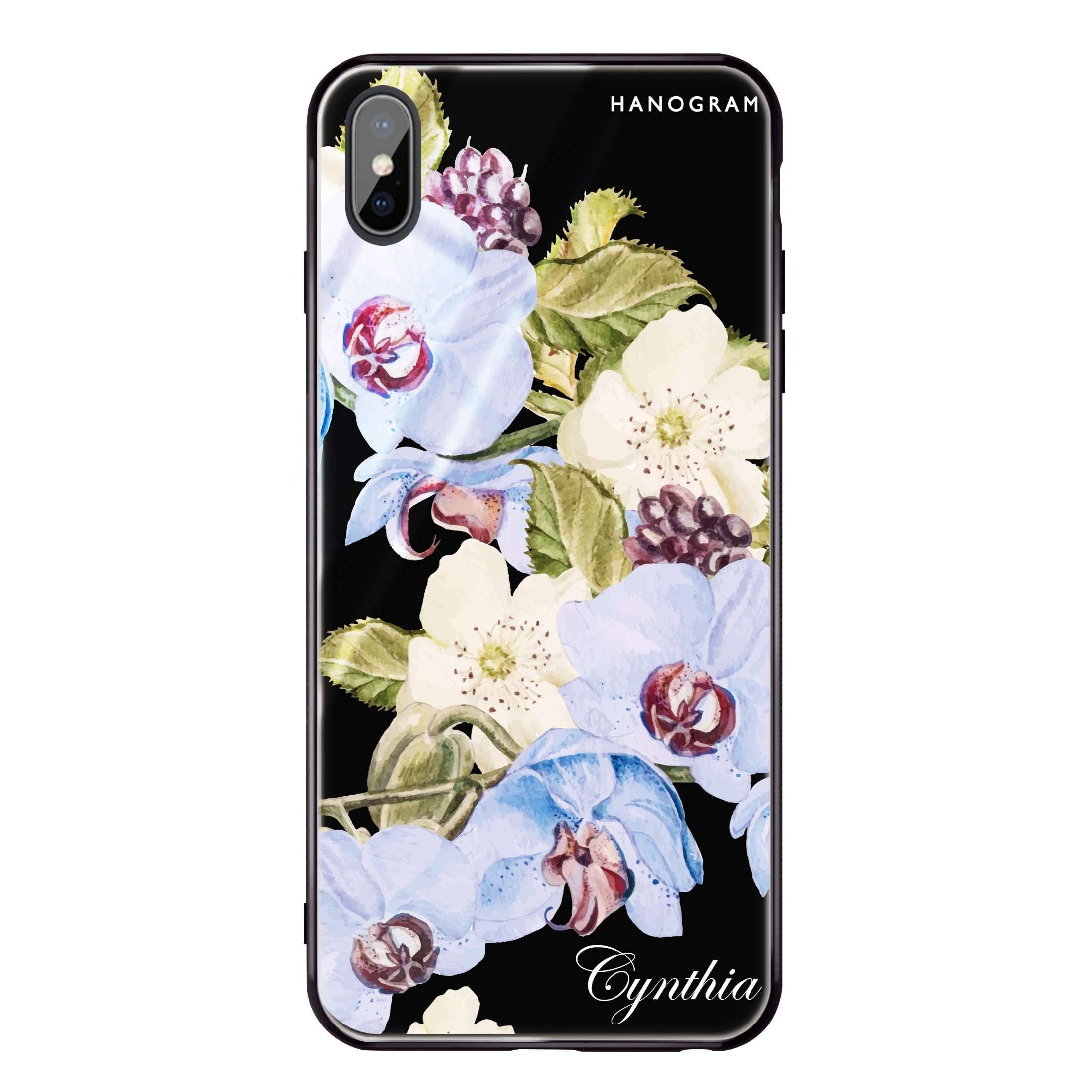 free shipping 2cb08 1ca90 Light Blue Floral iPhone X Glass Case