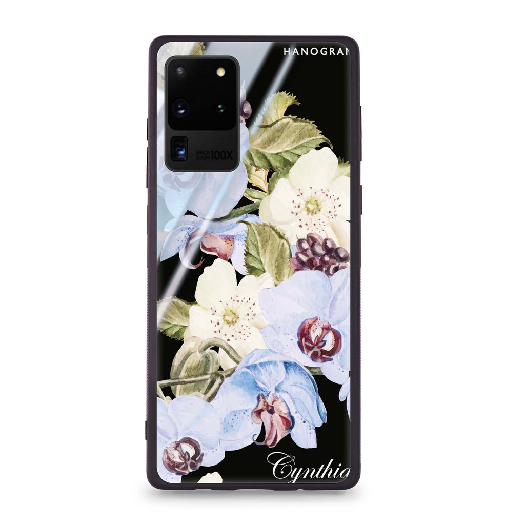 Light Blue Floral Samsung S20 Ultra Glass Case