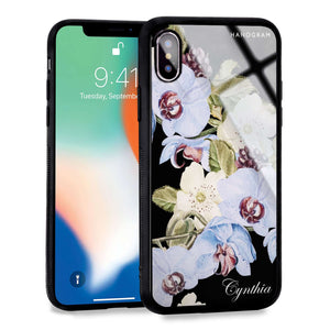 Light Blue Floral iPhone XS Max Glass Case