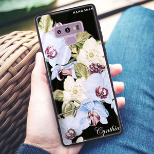 Light Blue Floral Samsung Note 9 Glass Case