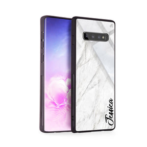 White Marble – Deep Love Samsung S10 Plus Glass Case