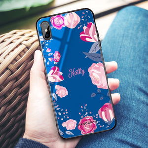 Trendy Flowers Princess Blue Glass Case