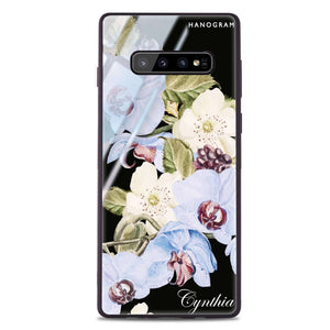 Light Blue Floral Samsung S10 Plus Glass Case