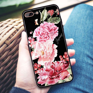 Pretty Watercolor Flowers iPhone 8 Plus Glass Case