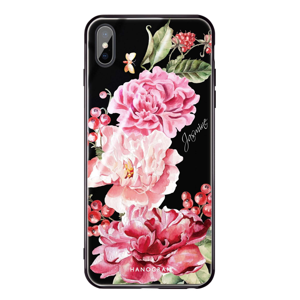 Pretty Watercolor Flowers iPhone XS Max Glass Case
