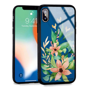 Floral Bloom Princess Blue Glass Case