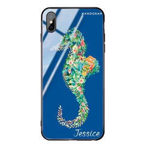 Floral Seahorse Princess Blue Glass Case
