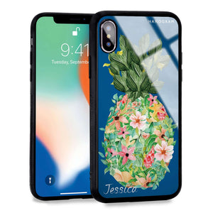 Floral Pineapple Princess Blue Glass Case