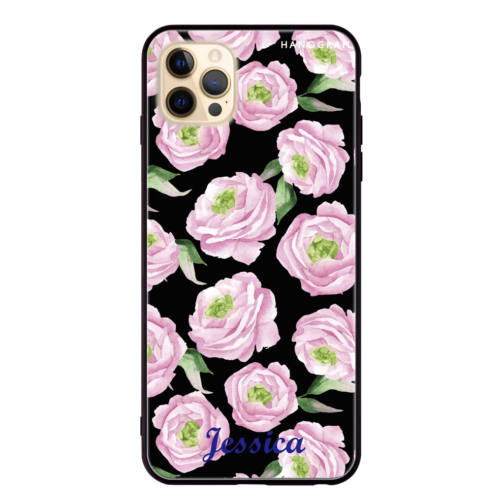 Watercolor pink floral Glass Case