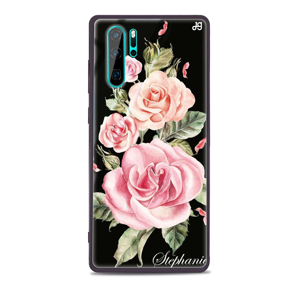 Pink Watercolor Floral Huawei Glass Case