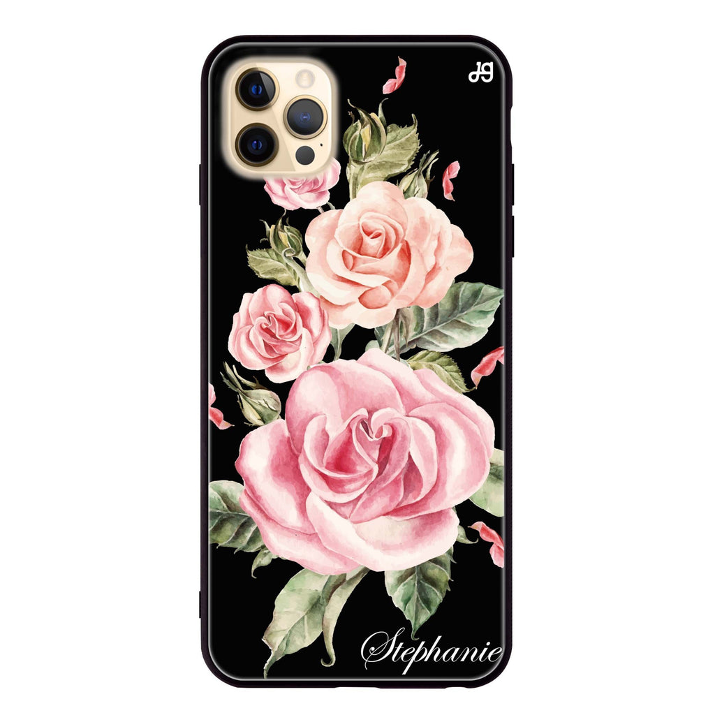 Pink Watercolor Floral Glass Case