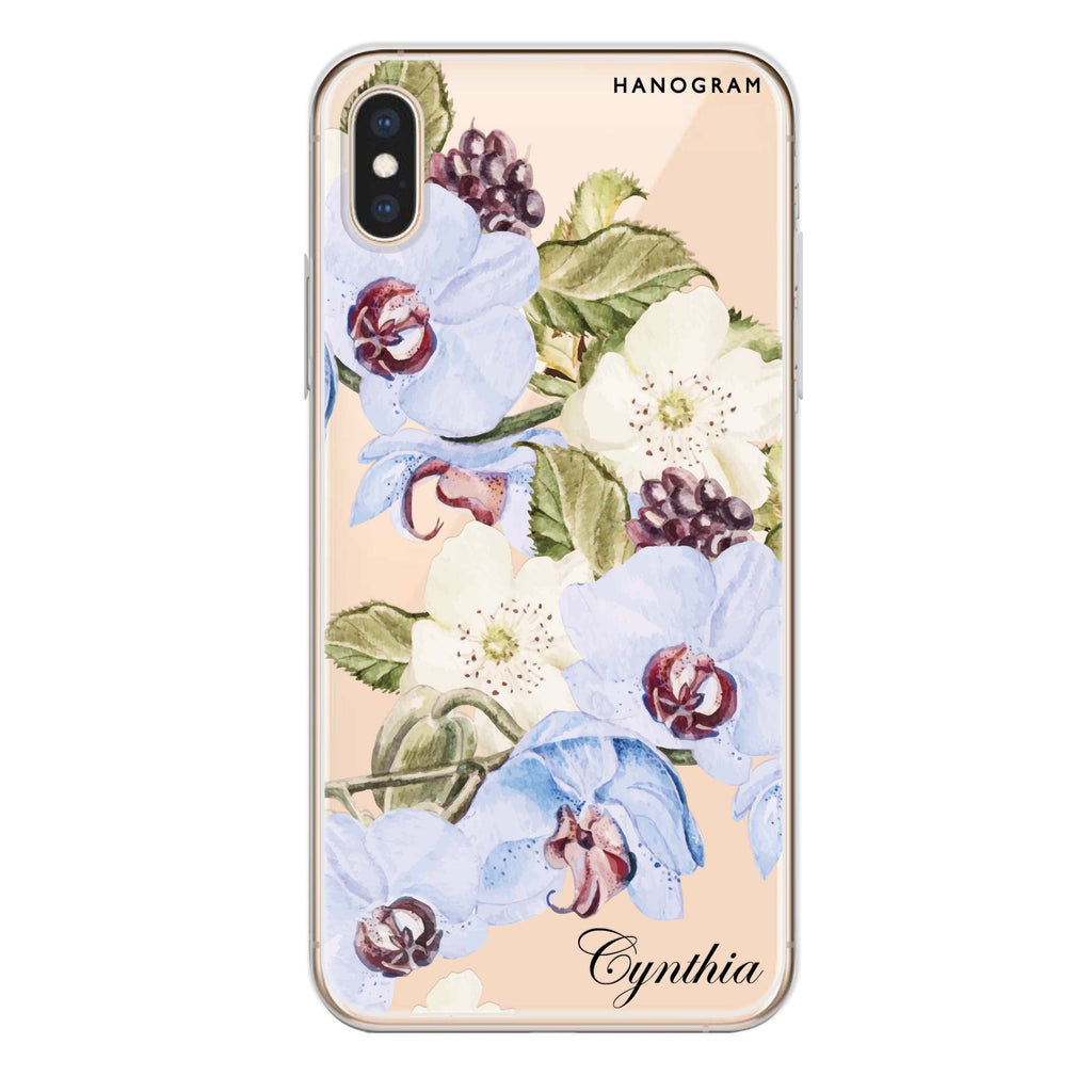 Light Blue Floral iPhone XS Soft Clear Case