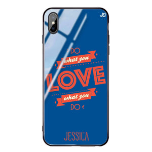 Do what you love Princess Blue Glass Case