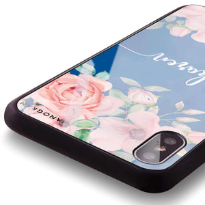 Forever Love Rose Princess Blue Glass Case
