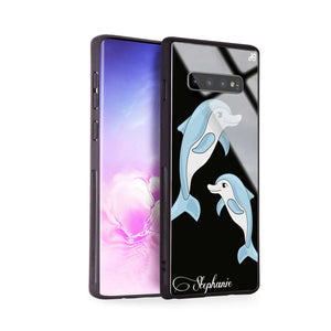 Twins dolphin Samsung S10 Plus Glass Case
