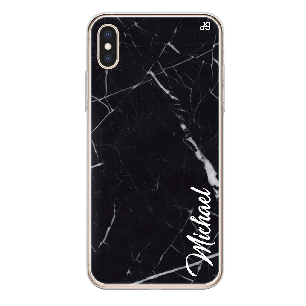 Black Marble – Deep Love iPhone XS Soft Clear Case