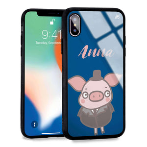 Funny Piggy Princess Blue Glass Case