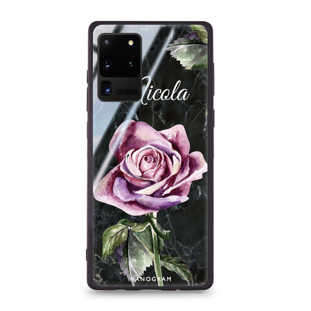 Black Marble Rose Samsung S20 Ultra Glass Case