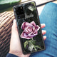 Black Marble Rose Samsung Glass Case