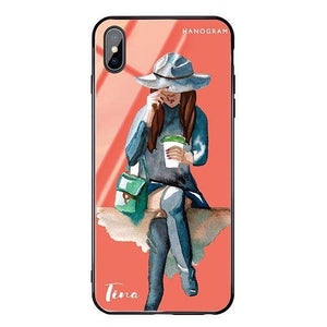 Coffee Girl Living Coral Glass Case