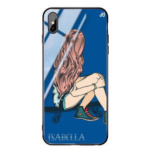 Skater Girl Princess Blue Glass Case