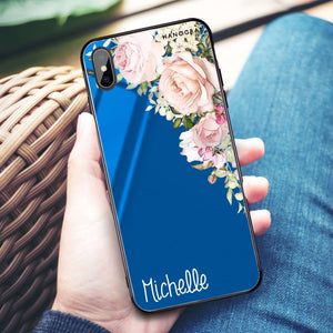 Elegant Rose I Princess Blue Glass Case