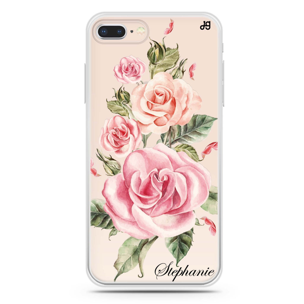 Pink Watercolor Floral iPhone 8 Soft Clear Case